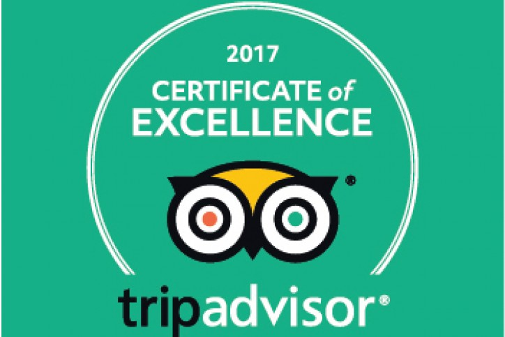 TripAdvisor Certificate of Excellence!